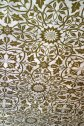 Late 19th century William Morris wallpaper on the ceiling of the dining room.