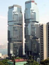 Hong Kong architecture - the Lippo Building, a geometric landmark, completed 1988.