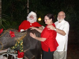 Santa, Crissan and Bob Zeigler.