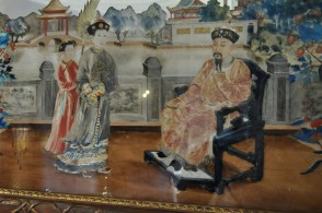 Detail of the paintings on the Chinese mirror