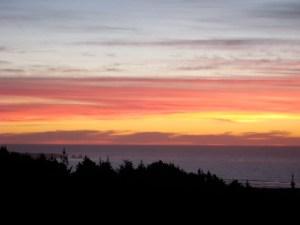 Pichilemu at Sunset - view from Cabanas Buena Vista