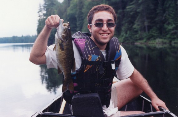 Roozbeh - Putting the whole canoe camping ordeal behind him with a nice bass