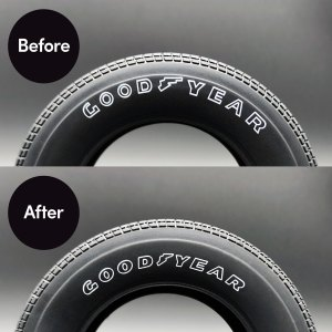 Before and After installation of DeLorean Tyre Transfer Kit mod