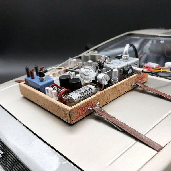 DeLorean Hood Box Upgrade strapped to model
