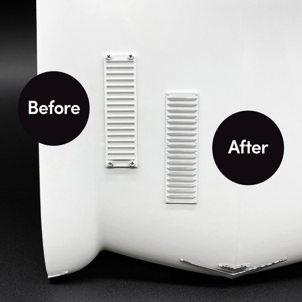 Ecto-1 Hood Vent shown before and after mod installation