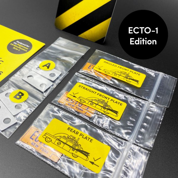Contents of ECTO-1 Edition licence plate kit mod