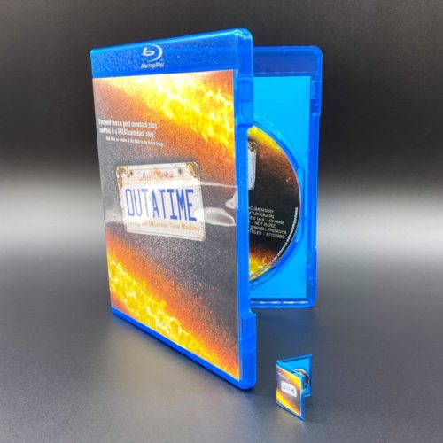 Miniature OUTATIME movie next to real life size Blu-ray DVD
