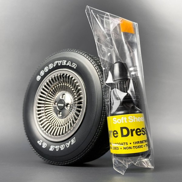 Tyre Dressing apllied to DeLorean tyre