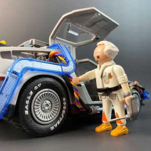 Playmobil DeLorean with Tyre Transfers and Flux Band Wires next to Doc model