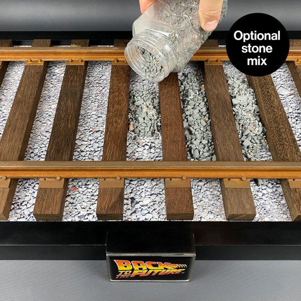Optional stone mix for DeLorean hardwood railroad