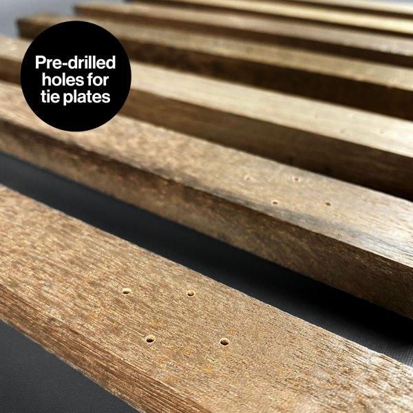 Pre-drilled holes for tie plates of DeLorean Railroad mod