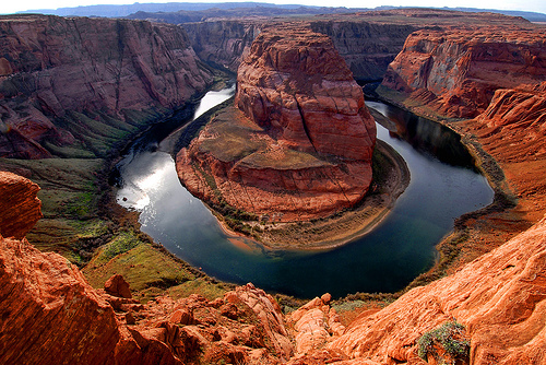 Flowing water created the Horseshoe Canyon