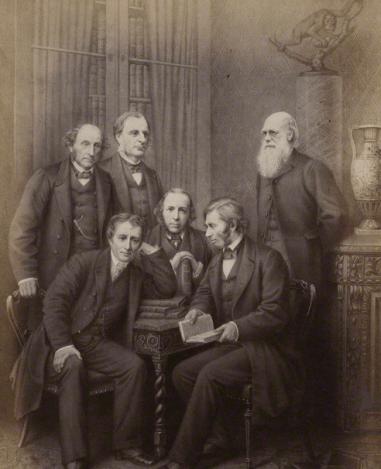 Darwin (right) standing - John Ruskin seated before him