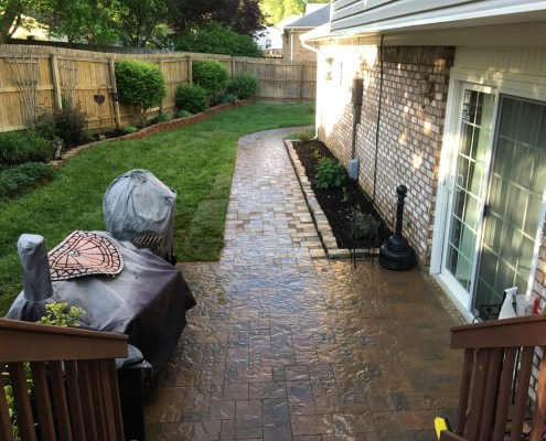 Paver Patio with Paver Walkway that wraps around house