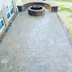 Paver Patio with Built in Bench and Fire Pit