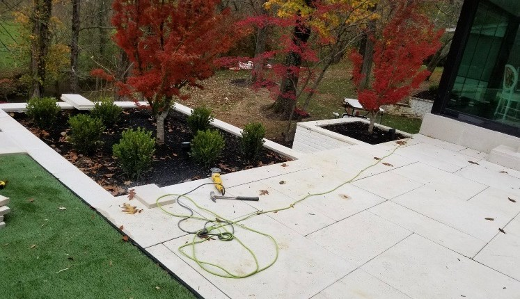 Paver Patio with Built in Trees
