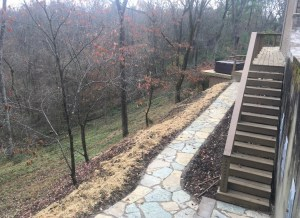 Paver Walkway with Custom Deck and Landscaping