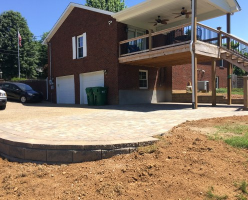 Paver Driveway with a Retaining Wall