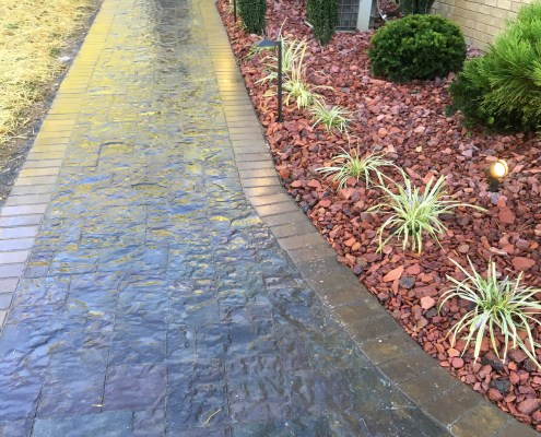 Paver Walkway with Brick Border