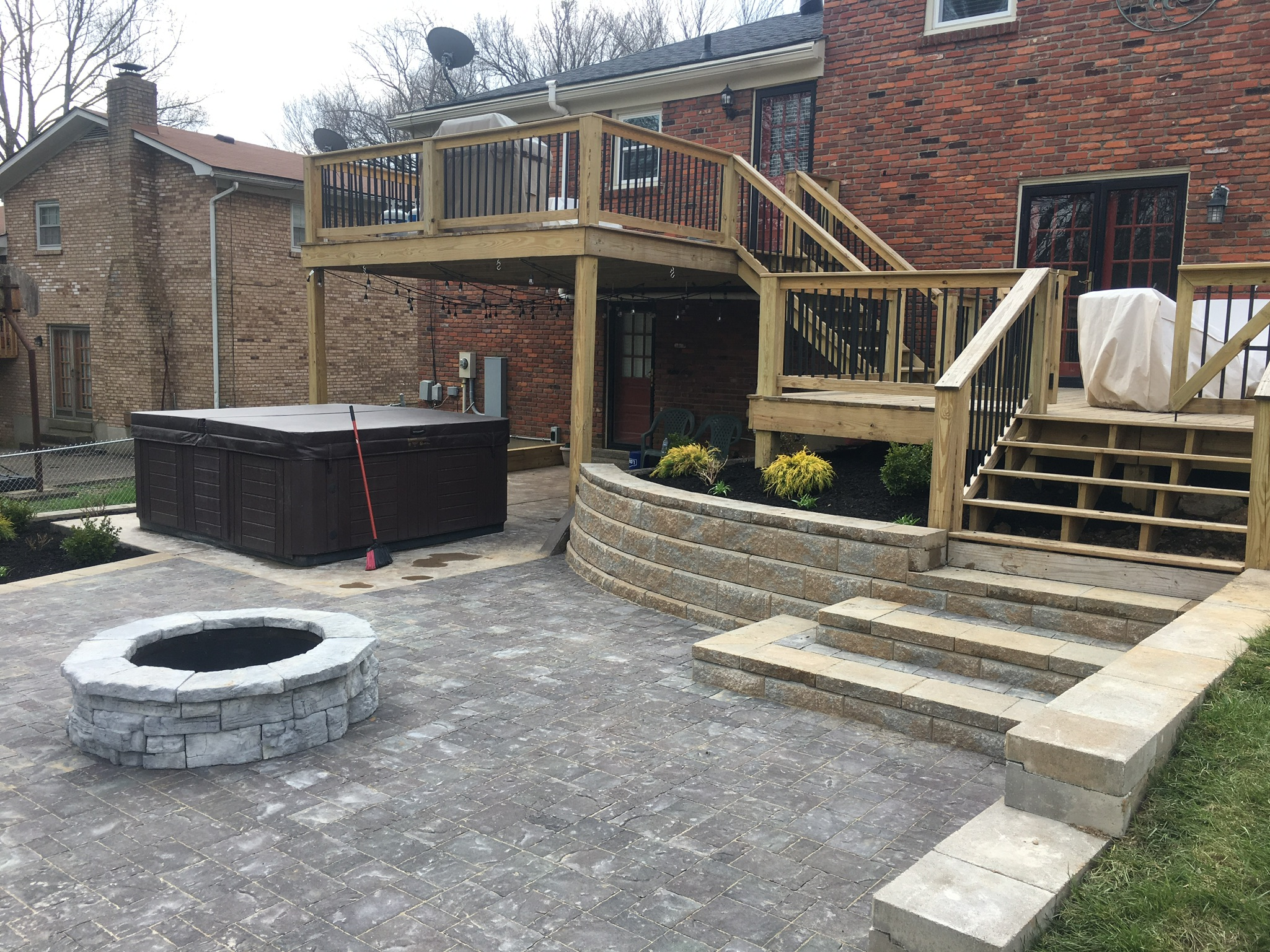 Paver Patio and Stairs with Retaining wall and Fire Pit