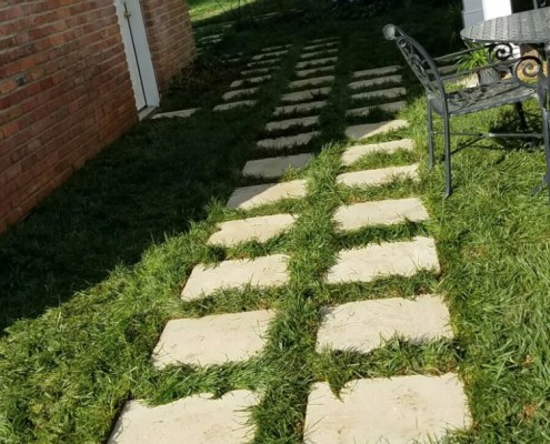 Paver Walkway with Grass Inlet