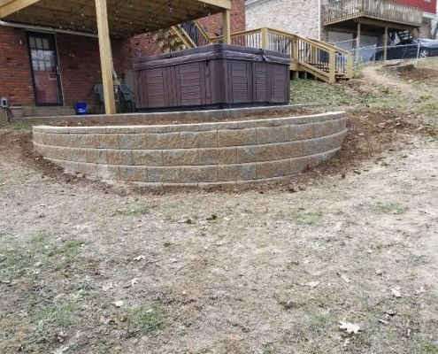 Retaining Wall around Jacuzzi