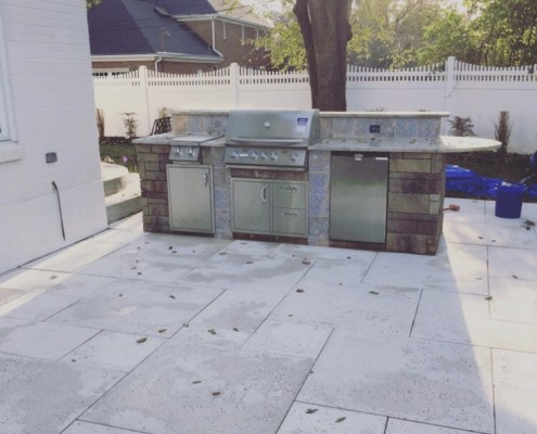 Custom Stone Grill and Bar with Stone Patio
