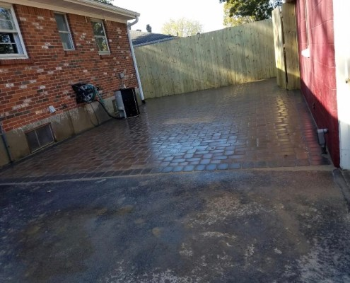 Paver Patio between house and Fence