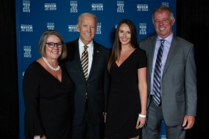 From left to right Lee Pound Joe Biden Emma Pound Mike Pound. Lee, Joe and Emma look great. Mike needs to comb his hair