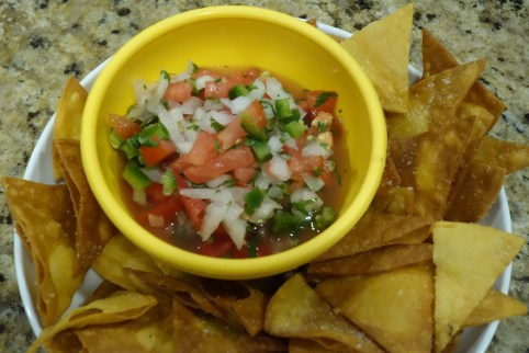 A bowl of pico de gallo on a plate with home made tortilla chips.