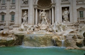 a front view of the trevi fountain in rome italy