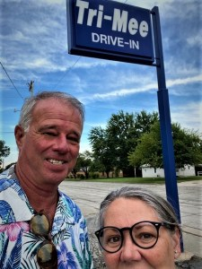 Mike and Lee in front of the Tri Mee sign in Fredonia Kansas