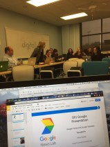 Getting ready for Digital First Media Google News Lab training at The Oakland Press on Dec. 6, 2016. (Photo/Mike Reilley)