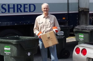 Mike helping with the west side Shred Event May 21st.