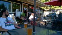 enjoying a beer with Dan at the roadside Sasquatch Burger place