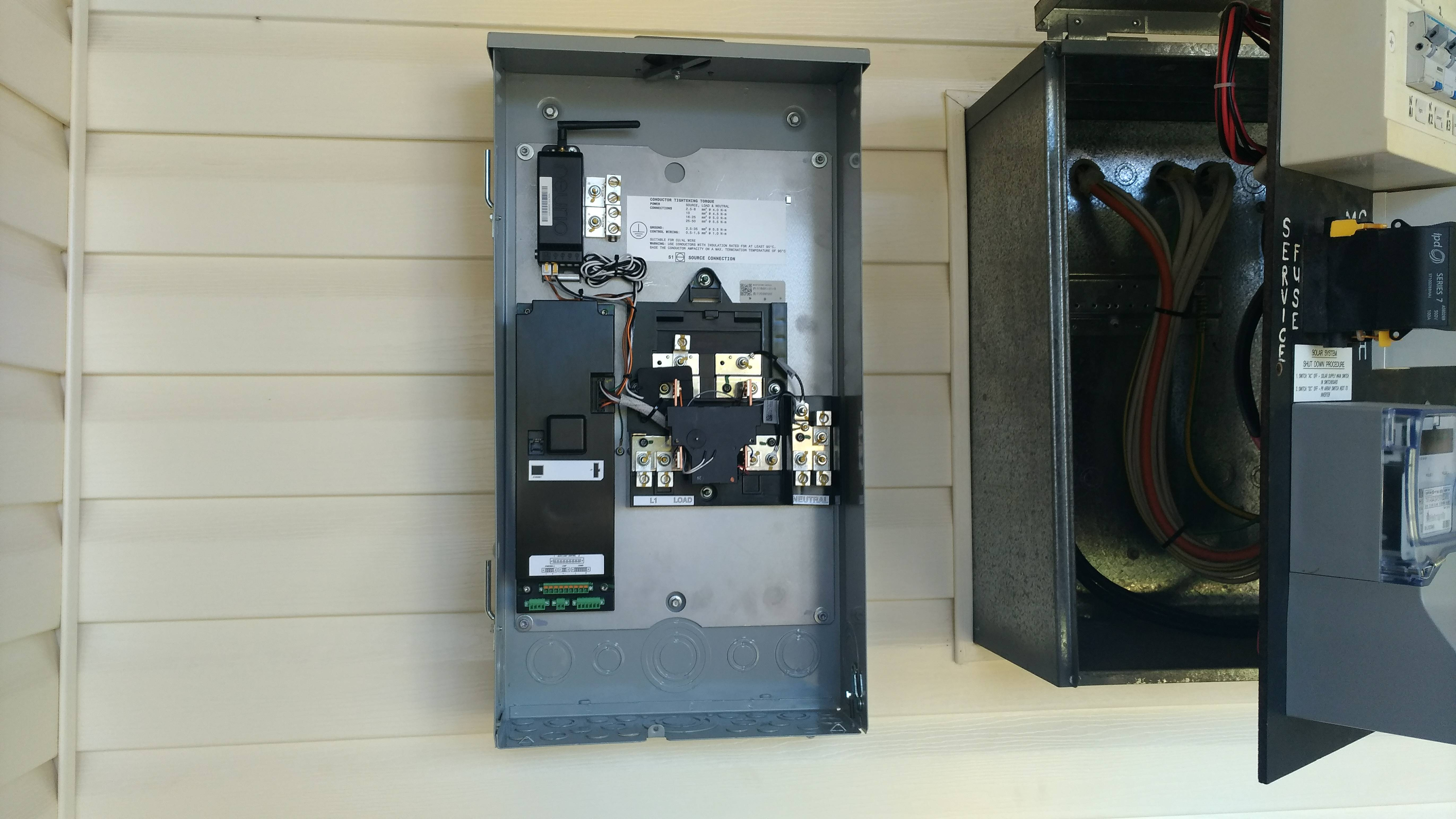 powerwall 2 wiring diagram 2005 honda civic parts tesla domestic solar battery installation photos 1 30 all cabling done there is a clamp on the active input to measure it s generation and gateway measures house load from power cable