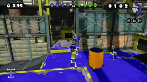 "Splatter shot spraying a area, while ""Hitsu"" aims with the Splat Charger."