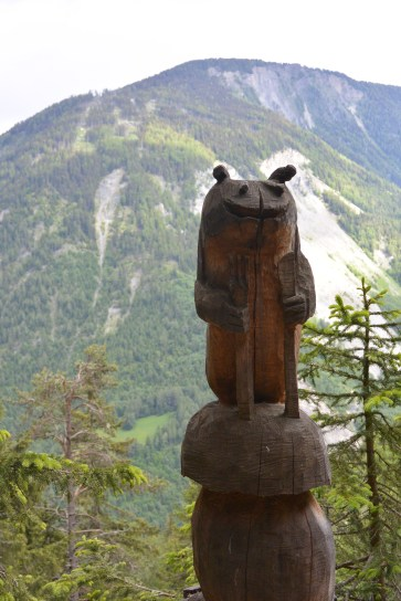 Dozens of these carving, most carved in situ, lined the trail climbing up to Champex (home of the St. Bernard).