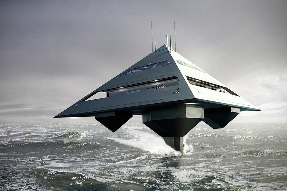 Pyramid Shaped Yacht Looks Like Star Destroyer Flying