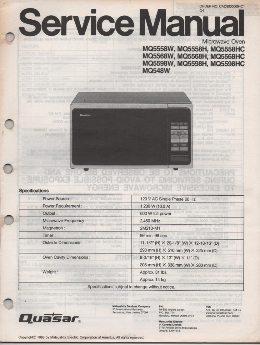 hight resolution of quasar mq548w mq5558h mq5558w mq5558hc mq5568h mq5568w mq5568hc mq5598h mq5598w mq5598hc microwave oven service instruction manual jpg