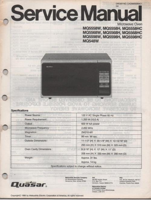small resolution of quasar mq548w mq5558h mq5558w mq5558hc mq5568h mq5568w mq5568hc mq5598h mq5598w mq5598hc microwave oven service instruction manual jpg