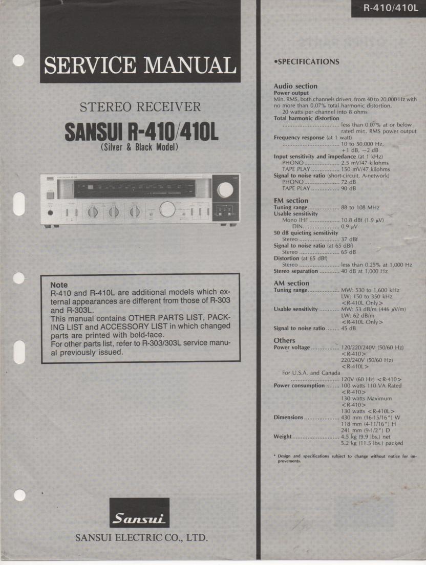 Sansui R-410 R-410L Receiver Service Manual