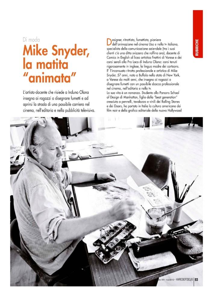 Mike Snyder; La matita animata, di Sergio Redaelli, per VareseFocus, marzo 2013 (2/4)