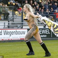 Netherlands: Rijnsburgse Boys soccer fans hire a porn star to streak during a match