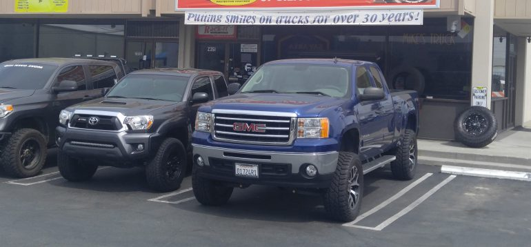 """3 Lifted Trucks by Mike's Truck - 3"""" Lifted Tundra, 3"""" Lifted Tacoma, 6"""" Lifted GMC 1500."""