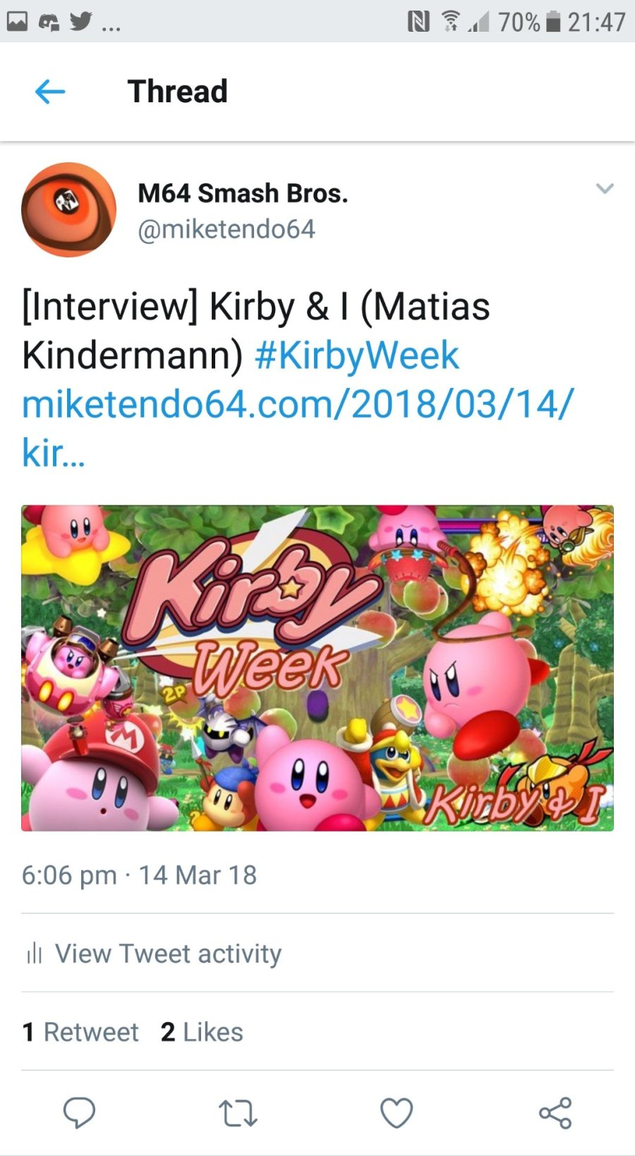 #KirbyWeek: An Interactive Twitter Experience