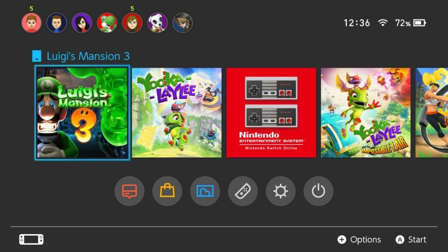 Luigi's Mansion 3 Switch homescreen