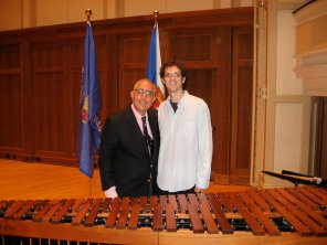 Mike with Ben Stein after performing introductory music to one of his speeches.