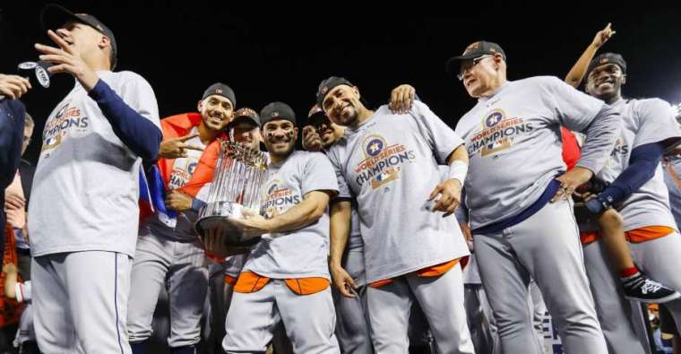 Houston Astros with trophy