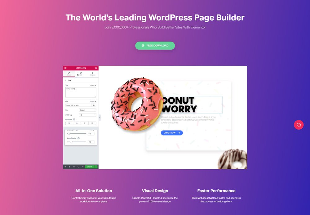 The homepage for Elementor, the free drag and drop page-builder for WordPress.